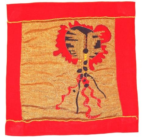 """Cotton-polyester blend, cotton, metallic thread and floss, cotton thread and floss, metallic ribbon 10.5""""x10.5"""""""