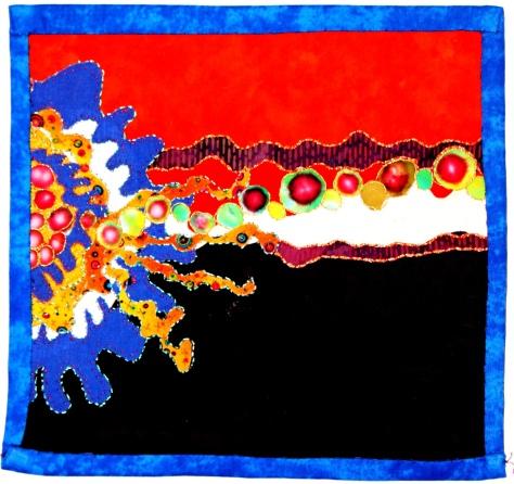"Silk, cotton, metallic thread and floss 9.5""x10"""