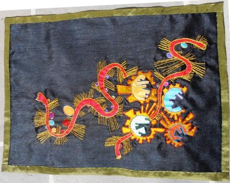 "Silk, metallic thread and floss, cotton thread 19""x26"""